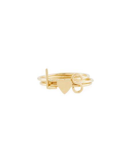 SARAH CHLOE Mini Amelia Initial Stacking Ring in Gold