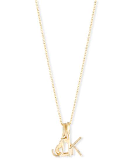 SARAH CHLOE Mini Amelia Layered Initial Pendant Necklace in Gold