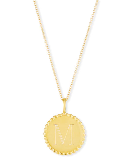 SARAH CHLOE Madi Engraved Initial Pendant Necklace in Gold