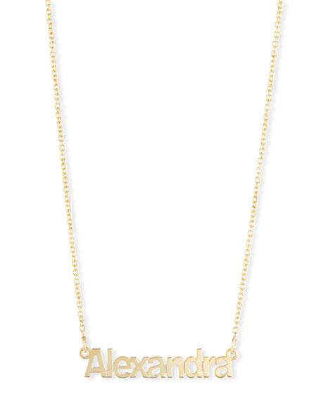 SARAH CHLOE Ava Block Letter Name Pendant Necklace in Gold