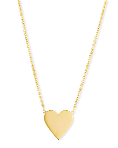 SARAH CHLOE Lily Solid Heart Pendant Necklace in Gold