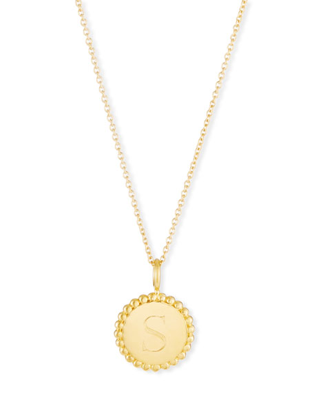 SARAH CHLOE Madi Small Engraved Initial Pendant Necklace in Gold