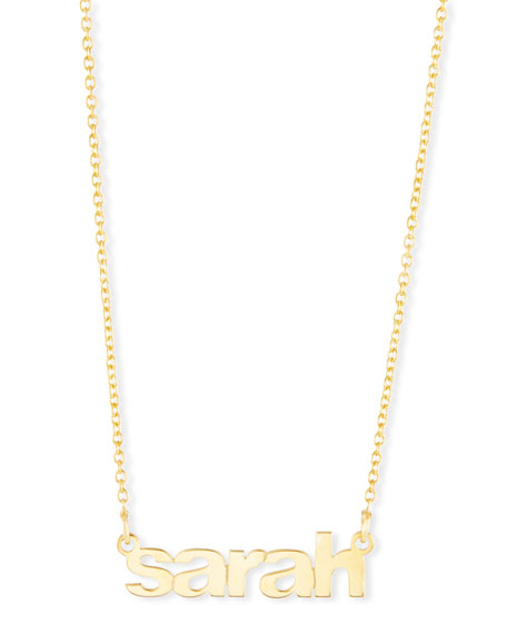 SARAH CHLOE Ava Block Letter Lowercase Name Pendant Necklace in Gold
