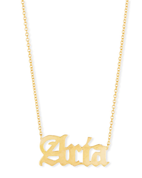 SARAH CHLOE Ava Gothic Name Pendant Necklace in Gold