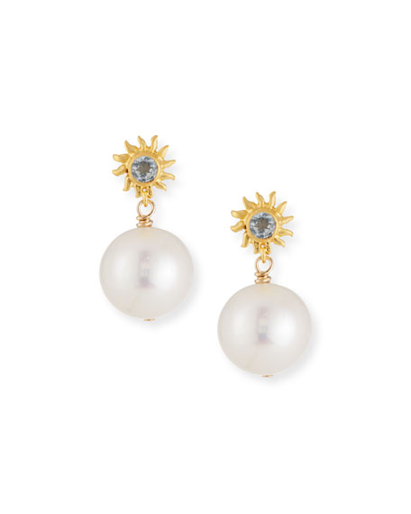Dina Mackney Starburst Pearl Drop Earrings