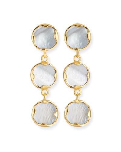 Triple Mother-of-Pearl Drop Earrings