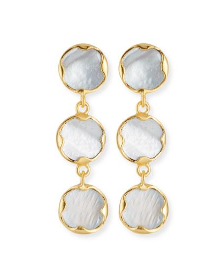 DINA MACKNEY Triple Mother-Of-Pearl Drop Earrings in White