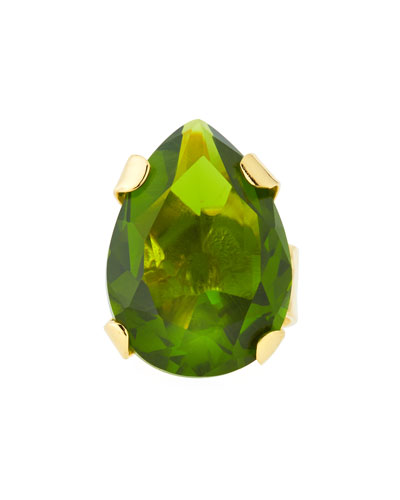 Green Cubic Zirconia Teardrop Ring
