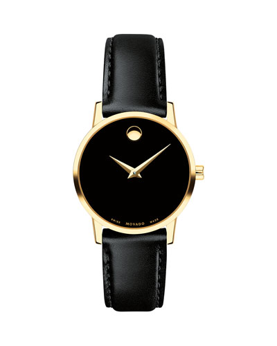 28mm Museum Classic Leather Watch  Gold/Black