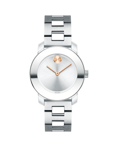30mm BOLD Bracelet Watch  Silver/Rose