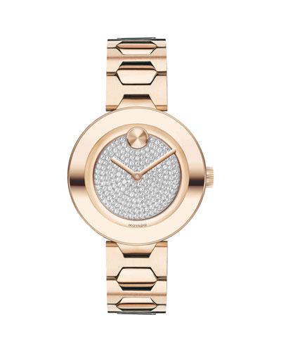 32mm BOLD Crystal Bracelet Watch  Carnation