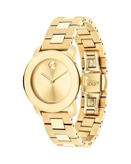 Movado 30mm BOLD Bracelet Watch, Golden