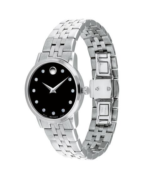 Movado 28mm Museum Classic Diamond Watch, Black/Silver