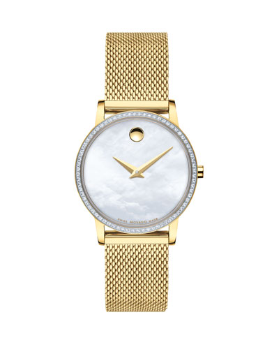 28mm Museum Classic Diamond Mesh Watch  Gold