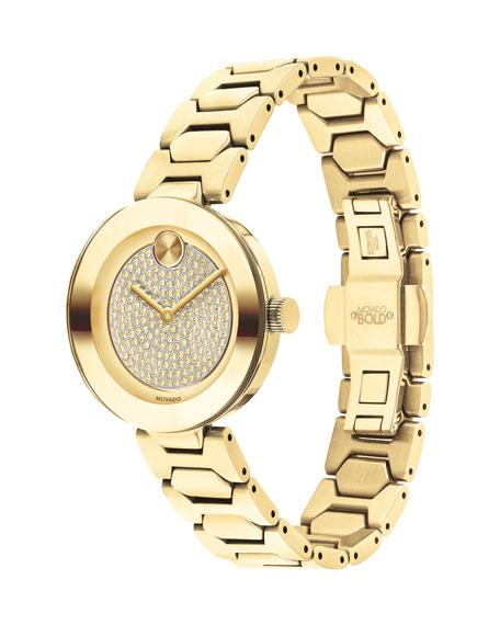Movado 32mm BOLD Crystal Bracelet Watch, Golden