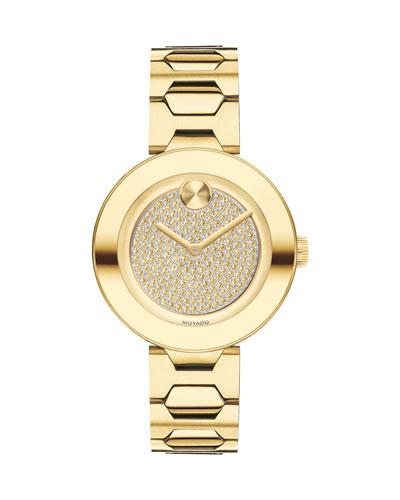 32mm BOLD Crystal Bracelet Watch  Golden