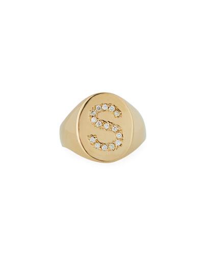 14k Diamond Initial Signet Ring