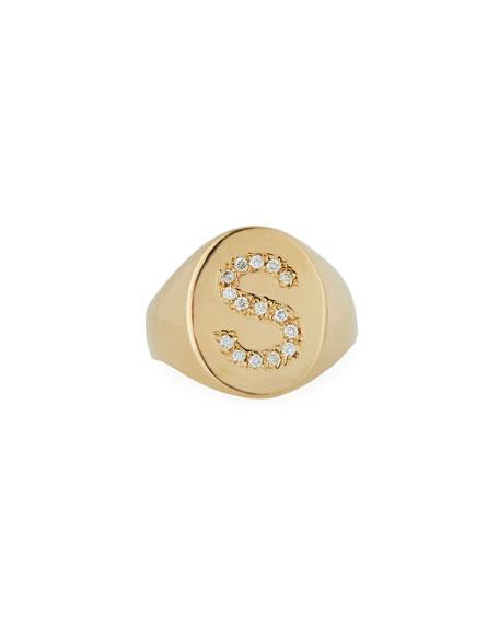 SARAH CHLOE 14K Diamond Initial Signet Ring in Gold
