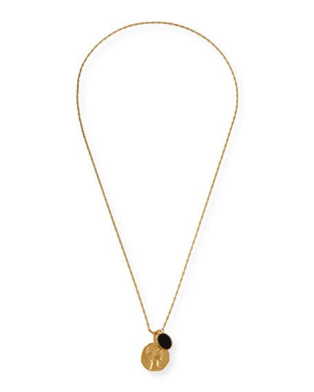 Saint Laurent Face & Onyx Medallion Pendant Necklace