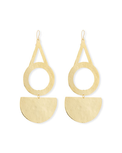 Circle Half-Disk Drop Earrings