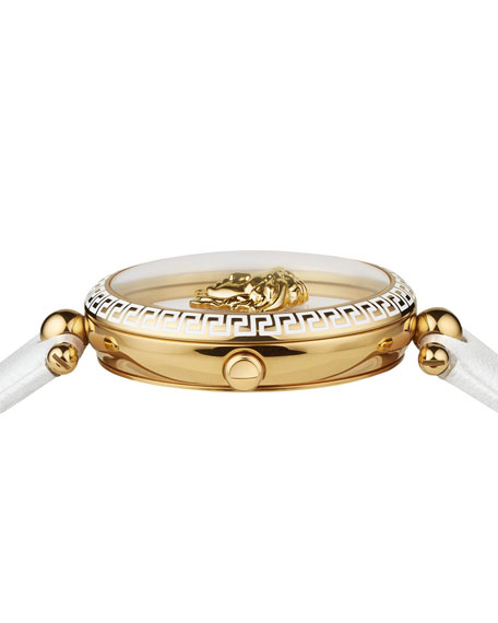 Versace 39mm Palazzo Empire Watch, White/Gold