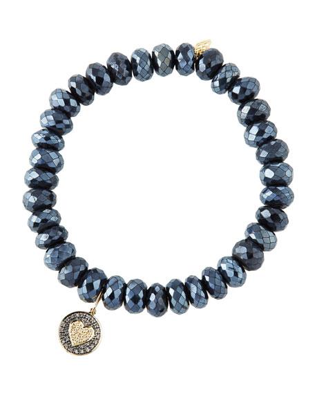 Sydney Evan 14k Diamond Heart & Spinel Bracelet