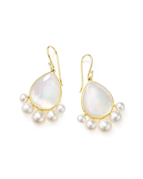 Ippolita Nova 18k Gold Pear Drop Earrings w/ Pearls