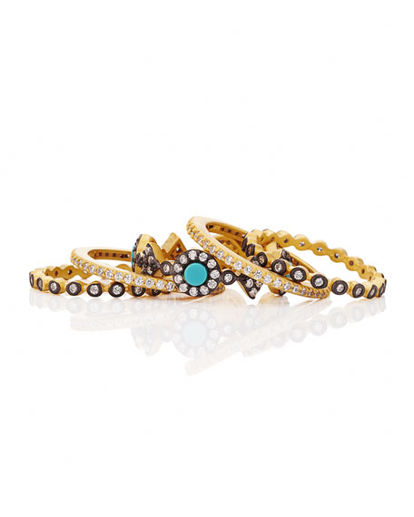 Freida Rothman Color Theory 5-Piece Stacking Ring Set - Turquoise, Size 7