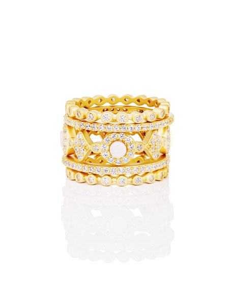 Freida Rothman Color Theory 5-Piece Stacking Ring Set - Mother-of-Pearl, Size 7