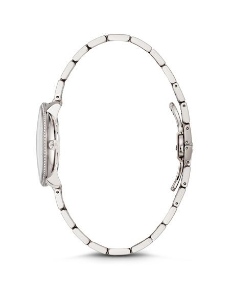 Gomelsky 36mm Audry Silver Opaline Bracelet Watch w/Diamonds