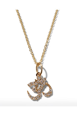 Sydney Evan 14k Gold Diamond OM Charm Necklace