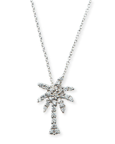 18k White Gold Diamond Palm Tree Pendant Necklace