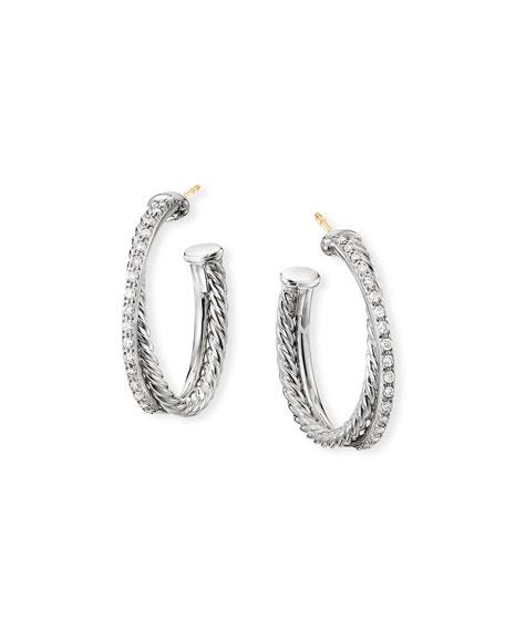 David Yurman DY Crossover Medium Hoop Earrings w/ Diamonds