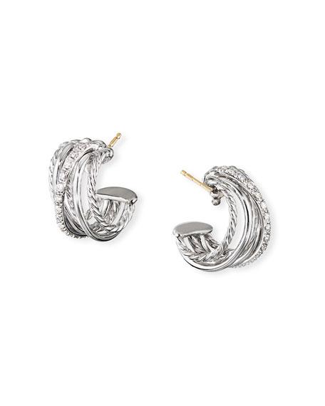 David Yurman DY Crossover Huggie Hoop Earrings w/ Diamonds