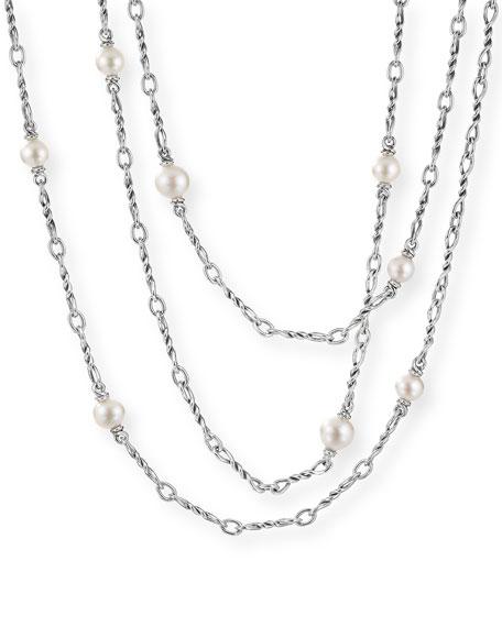 """David Yurman Continuance Pearl Small Chain Necklace, 72""""L"""