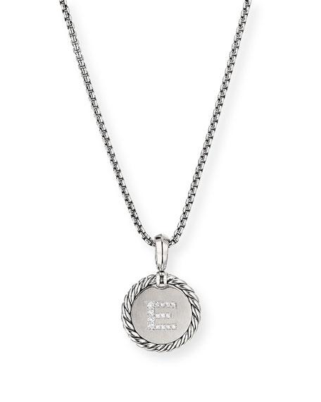 David Yurman Collectible Diamond Initial E Necklace
