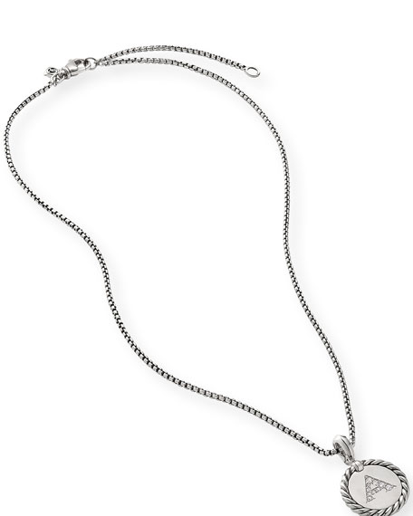 David Yurman Collectible Diamond Initial A Necklace
