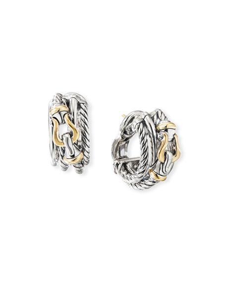 David Yurman DY Crossover Buckle Shrimp Earrings w/ 18k Gold