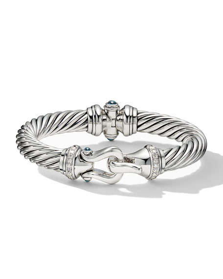 Image 3 of 4: David Yurman 9mm Cable Buckle Bracelet w/ Diamonds & Topaz