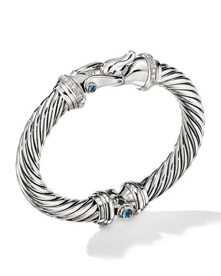 David Yurman 9mm Cable Buckle Bracelet w/ Diamonds & Topaz