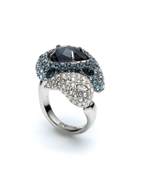 Alexis Bittar Crystal Encrusted Paisley Cocktail Ring, Size 6