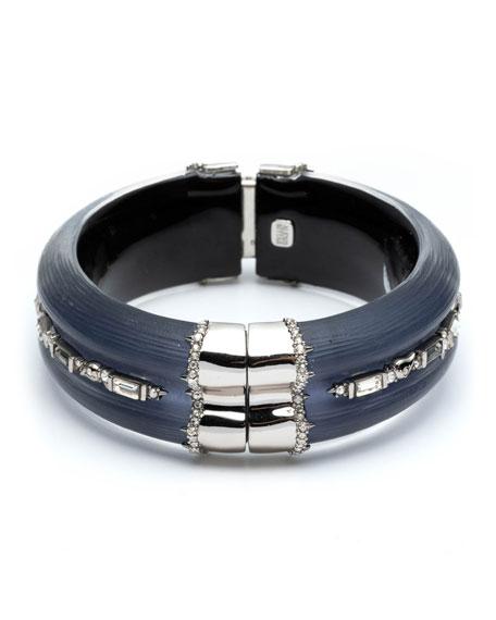 Alexis Bittar Crystal Baguette Hinge Bracelet, Blue