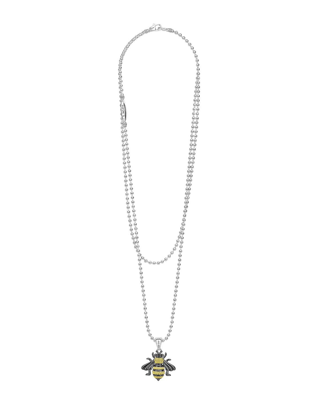 40a92c56402f Lagos Rare Wonders Long Honeybee Pendant Necklace w/ 18k Gold   Neiman  Marcus