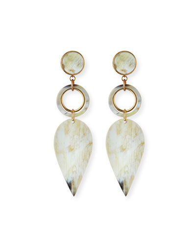 Horn Petal-Drop Earrings  White