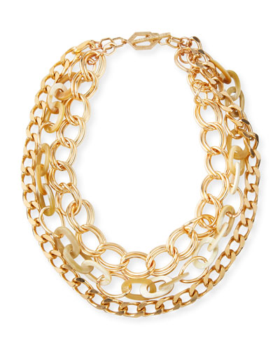 Chain & Horn 3-Strand Necklace  White