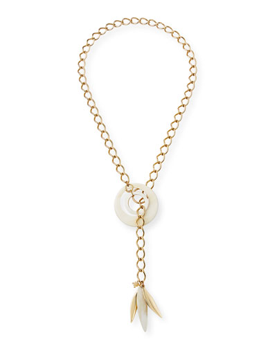 Adjustable Chain & Horn Lariat Necklace  White