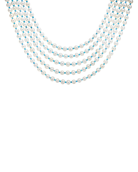 LAGOS Caviar Icon 5-Strand  Pearl/Turquoise Necklace