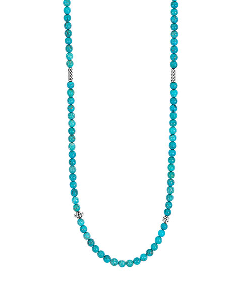 LAGOS Caviar Icon Long Necklace, Turquoise