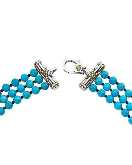 LAGOS Caviar Icon 3-Strand Necklace, Turquoise/Onyx
