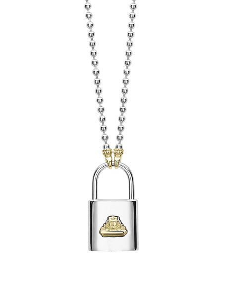 LAGOS Beloved Lock Pendant Necklace w/ Ball Chain